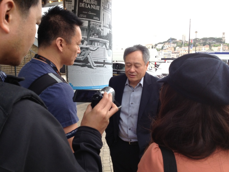Literally walked past a group of people, and then did a double take and turned around to see it was Ang Lee chilling doing an interview.  He waved hi after!