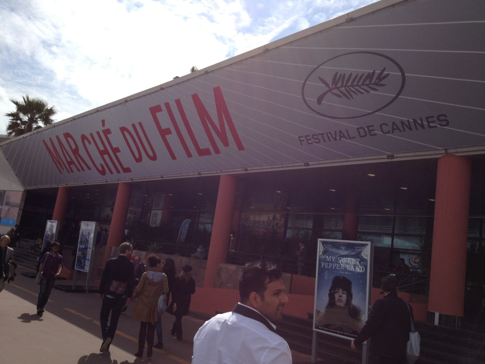 The back of the Marche.  The market place is so massive that it takes up two entire convention halls and is honestly a larger part of Cannes than the festival itself.  I was listening to a lecture that someone was giving on the floor--no idea who it was because I arrived late to it--but he was explaining the difference between film festivals and film markets.  When you're trying to send your independent film around to try for distribution, you need to hit the 5 major stops on the Circuit:  Cannes in the summer, Toronto in the fall, Sundance in the winter, and Berlin in the spring.  I honestly never would have known that, because no class at Rutgers talks about marketing your film.