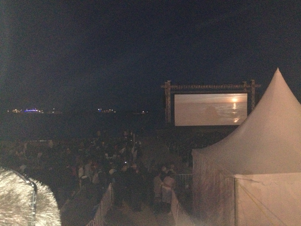 They were playing Jaws on the beach.  It was cool.  I didn't stay though...i've seen it too many times.