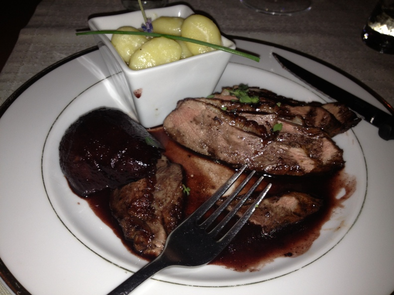 And it was fantastic.  Duck breast with baked pear and plum frappe and gnocchi.